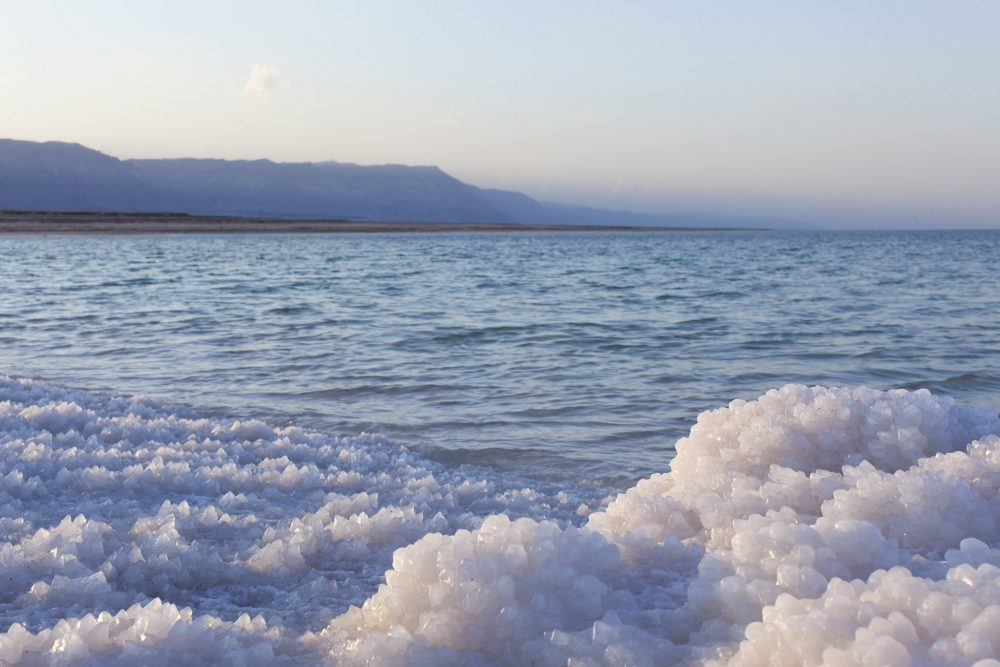 The clusters of salt on the Dead Sea in Israel