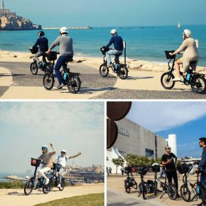 Group of people on an electrical bike tour in Israel