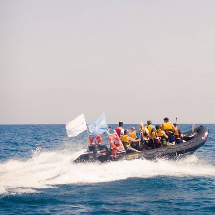 Group of people on a speedboat ride in Israel