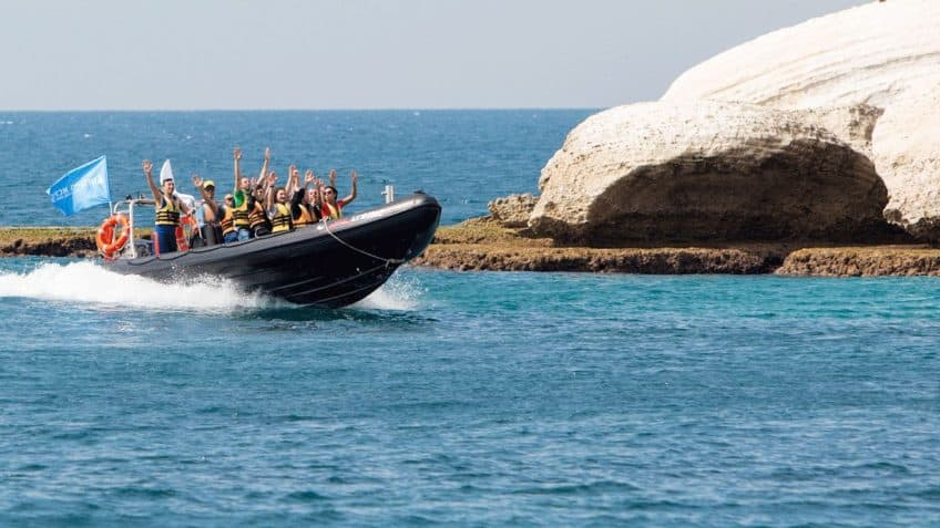 Speed boat ride on the sea in Israel